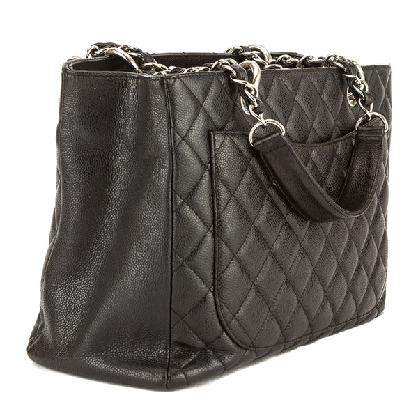 4af5a88a761d ... Chanel Black Quilted Caviar Leather Grand Shopping Tote GST (3829011)  ...