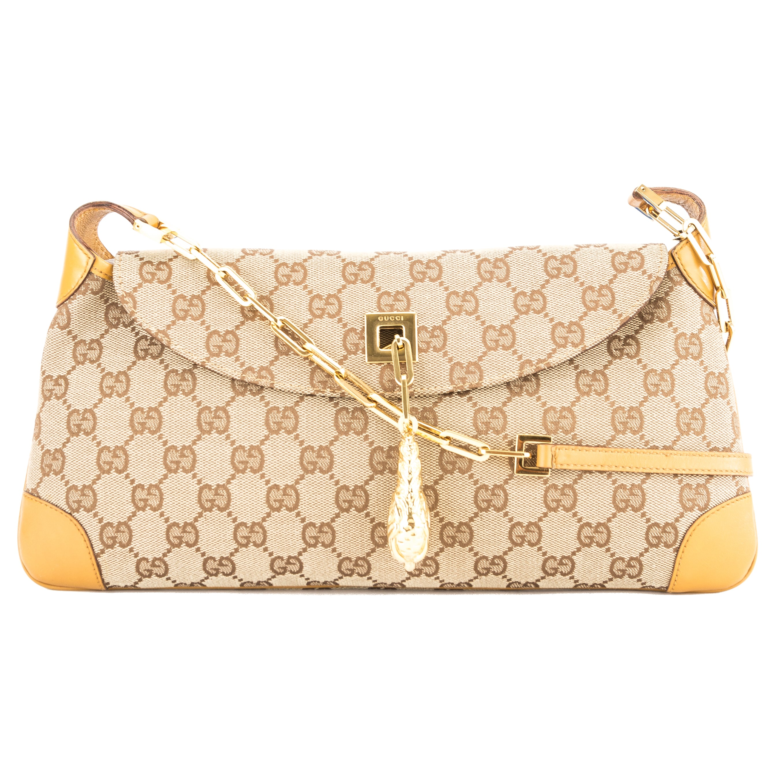258bb007cd6a Gucci Tan Leather GG Canvas Dragon Shoulder Bag (Pre Owned ...