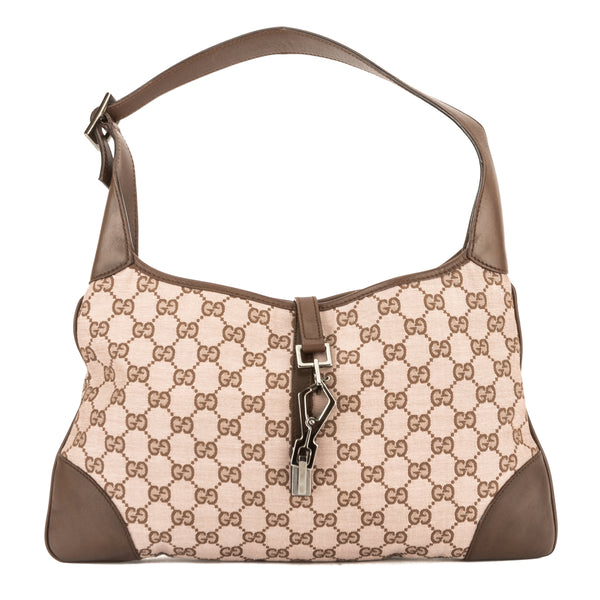 f212abc1731b Gucci Pink and Brown GG Jacquard Canvas Guccisima Jackie Bag (Pre ...