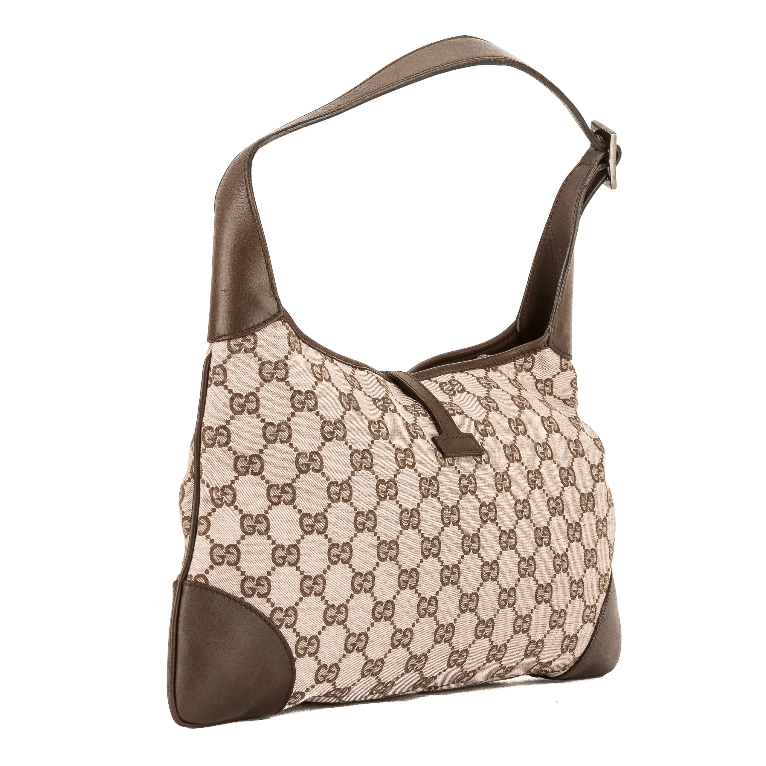 dc758d5c72c74a Gucci Pink and Brown GG Jacquard Canvas Guccisima Jackie Bag (Pre ...