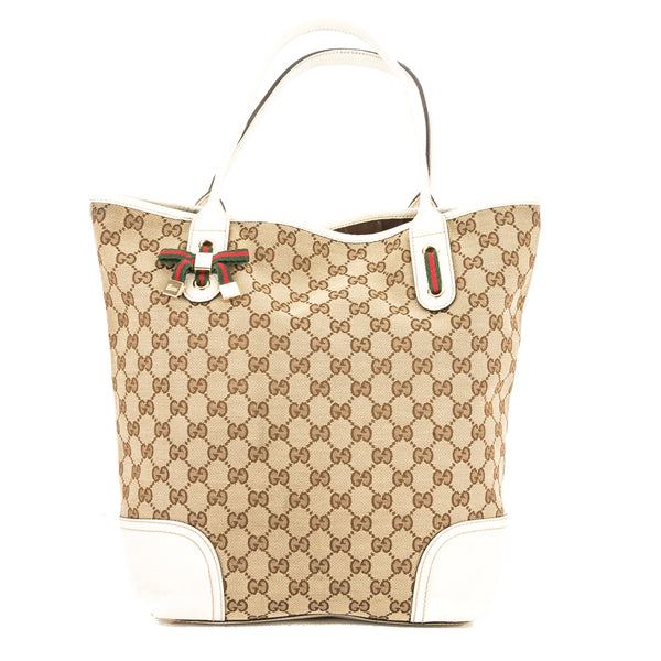 73b1692ae277 Gucci White Leather GG Monogram Canvas Web Tote Bag (Pre Owned ...