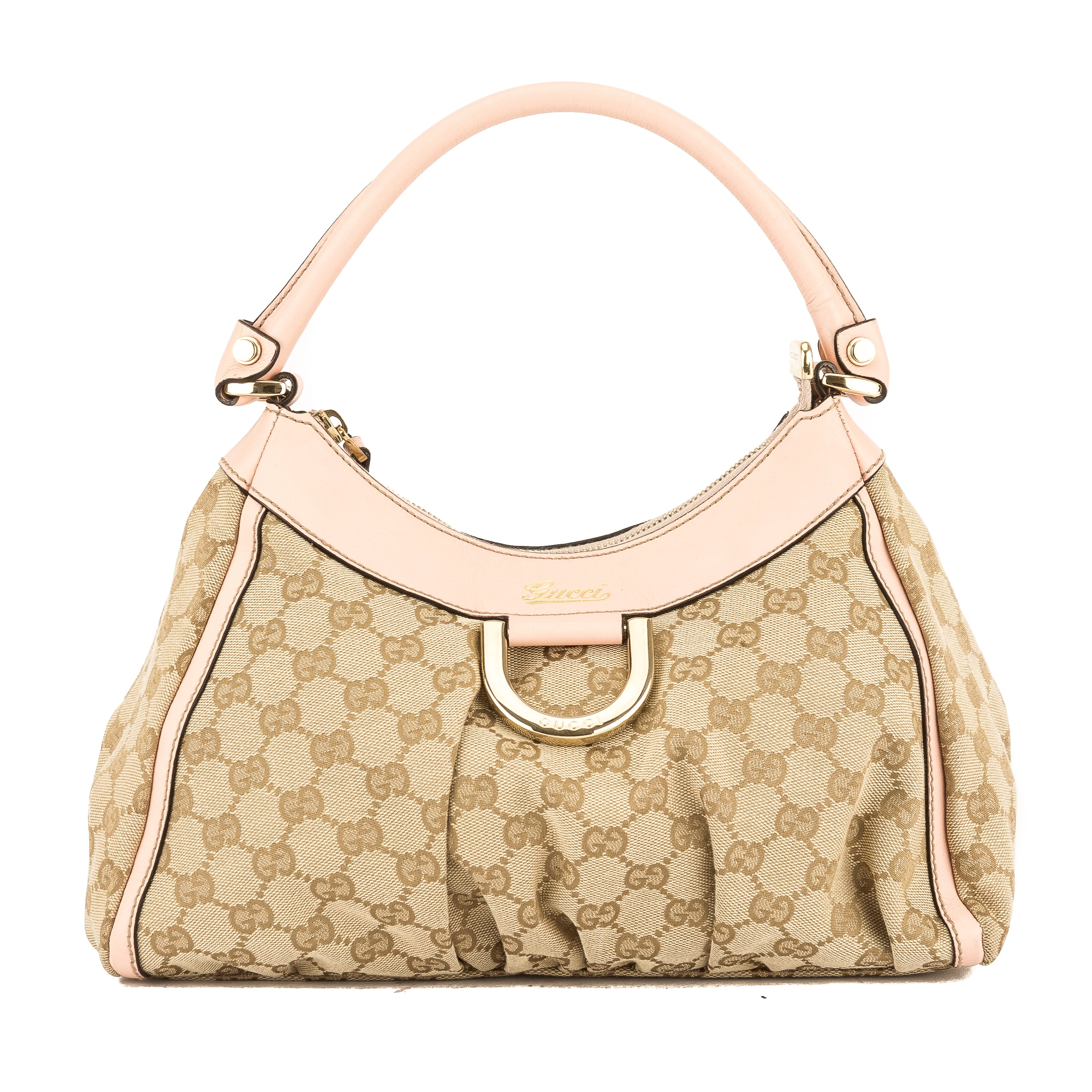 918d365012f9c0 Gucci Pink Leather GG Canvas Large D-Ring Hobo Bag (Pre Owned ...