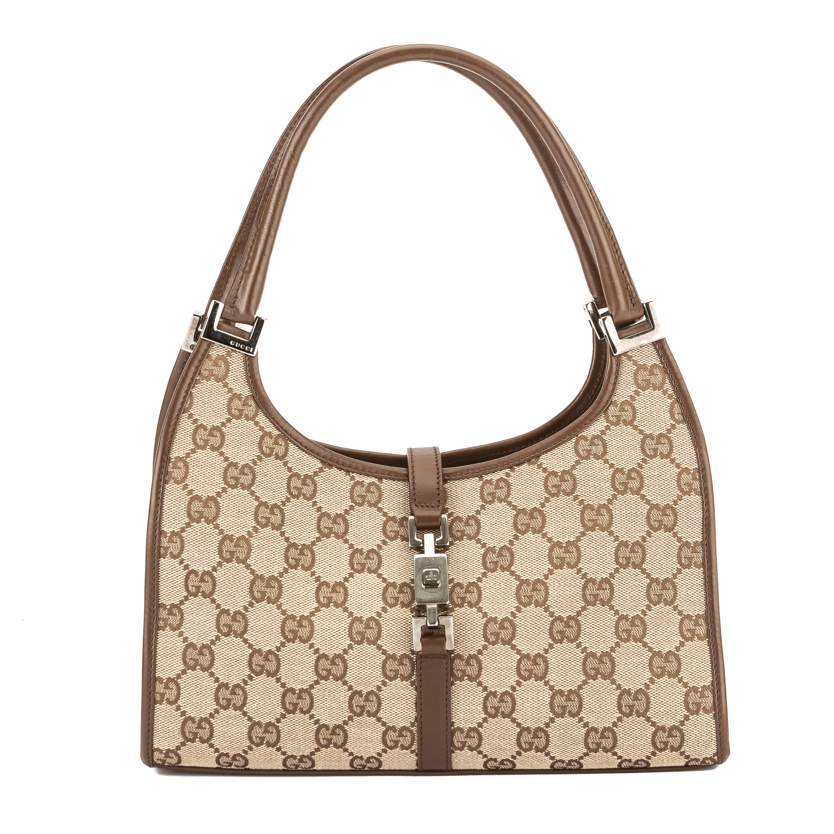 d9abd4f80da Gucci Brown Leather GG Monogram Canvas Jackie Bag (Pre Owned ...