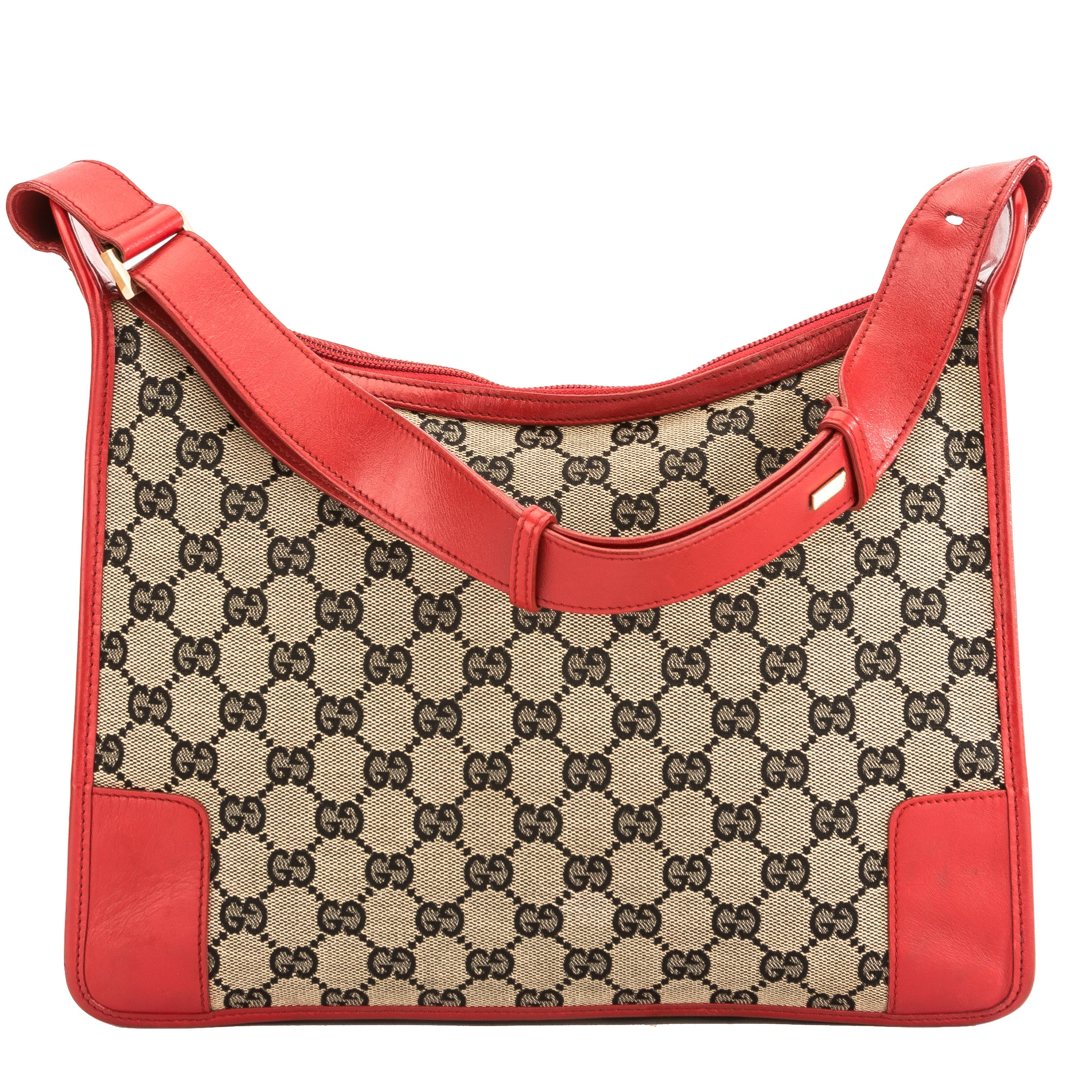 a856efb7067a Gucci Red Leather GG Canvas Shoulder Bag (Pre Owned) - 3843010 | LuxeDH