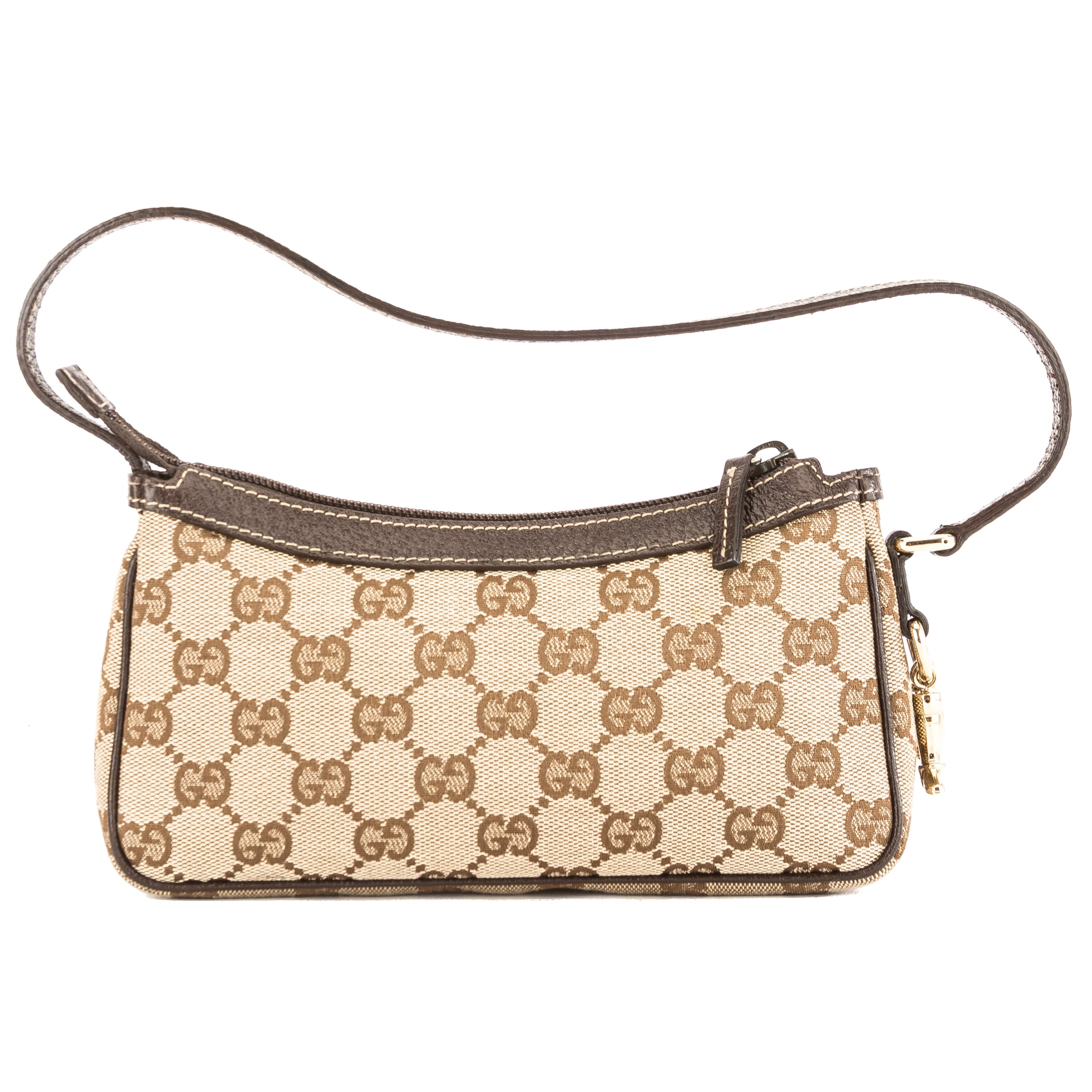 d1bd67f23e6b Gucci Brown Leather GG Monogram Pochette (3858007) - 3858007 | LuxeDH