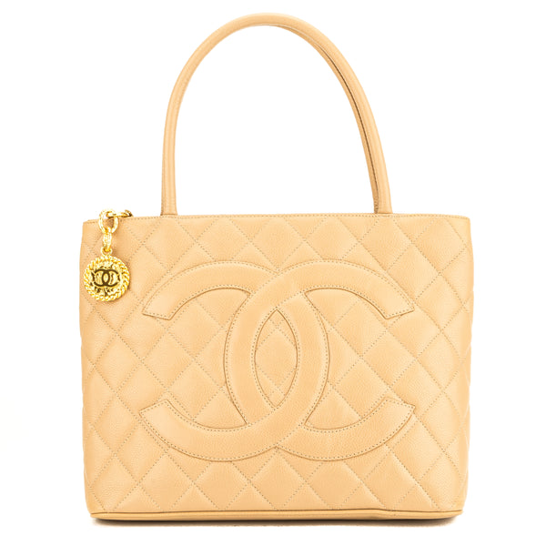 665c26d024167b Chanel Beige Quilted Caviar Leather Medallion Tote Bag (Pre Owned ...