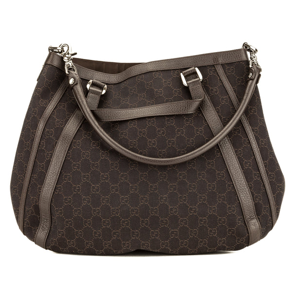 Gucci Brown GG Canvas Convertible Abbey Hobo Bag (Pre Owned)