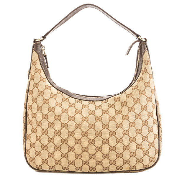 Gucci Brown Leather GG Monogram Canvas Hobo Bag (Pre Owned)