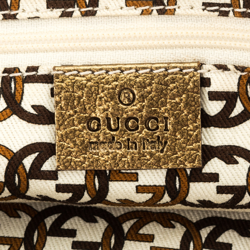 Gucci Gold Leather GG Canvas Small Princy Boston Bag (Pre Owned)
