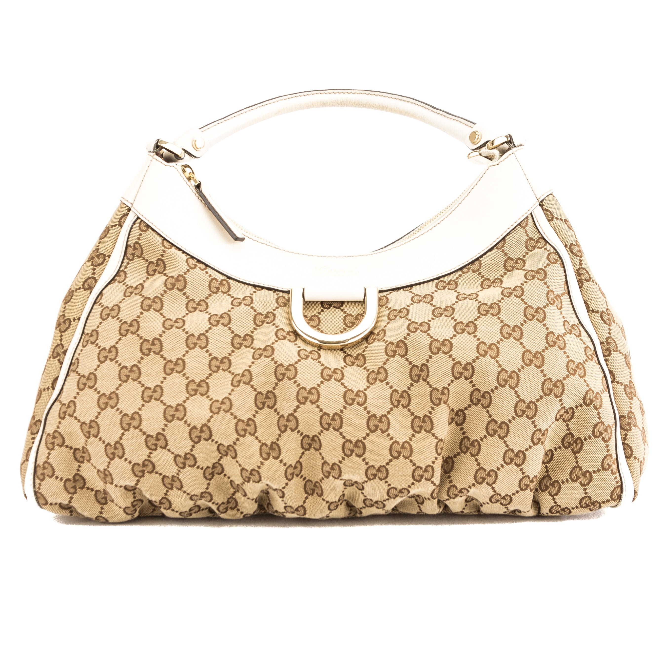d634ceee442 Gucci White Leather GG Canvas Large D-Ring Hobo Bag (Pre Owned ...