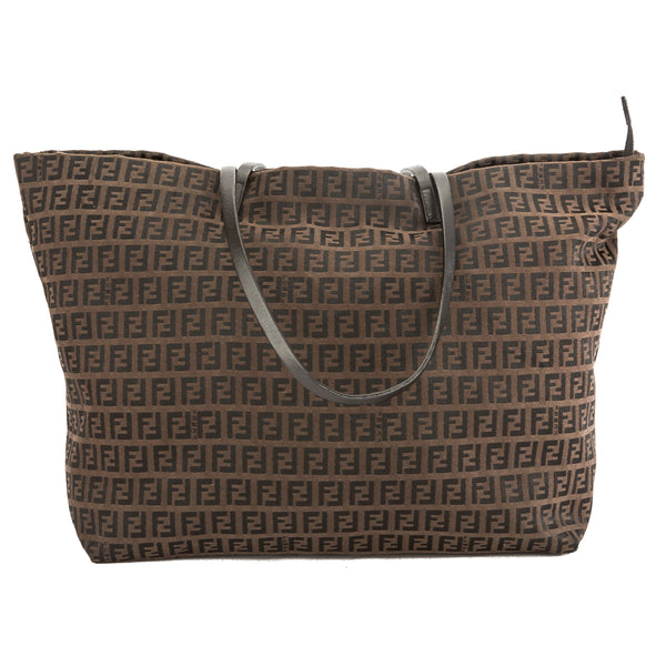 Fendi Brown Leather Zucca Nylon Canvas Tote Bag