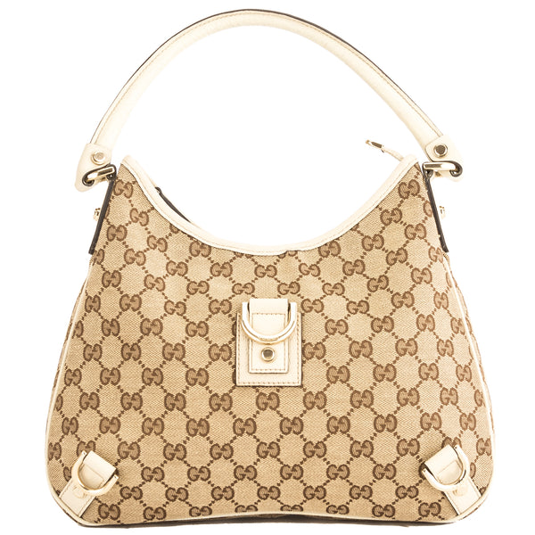 Gucci Creme Leather GG Abbey D-Ring Hobo (3864008)