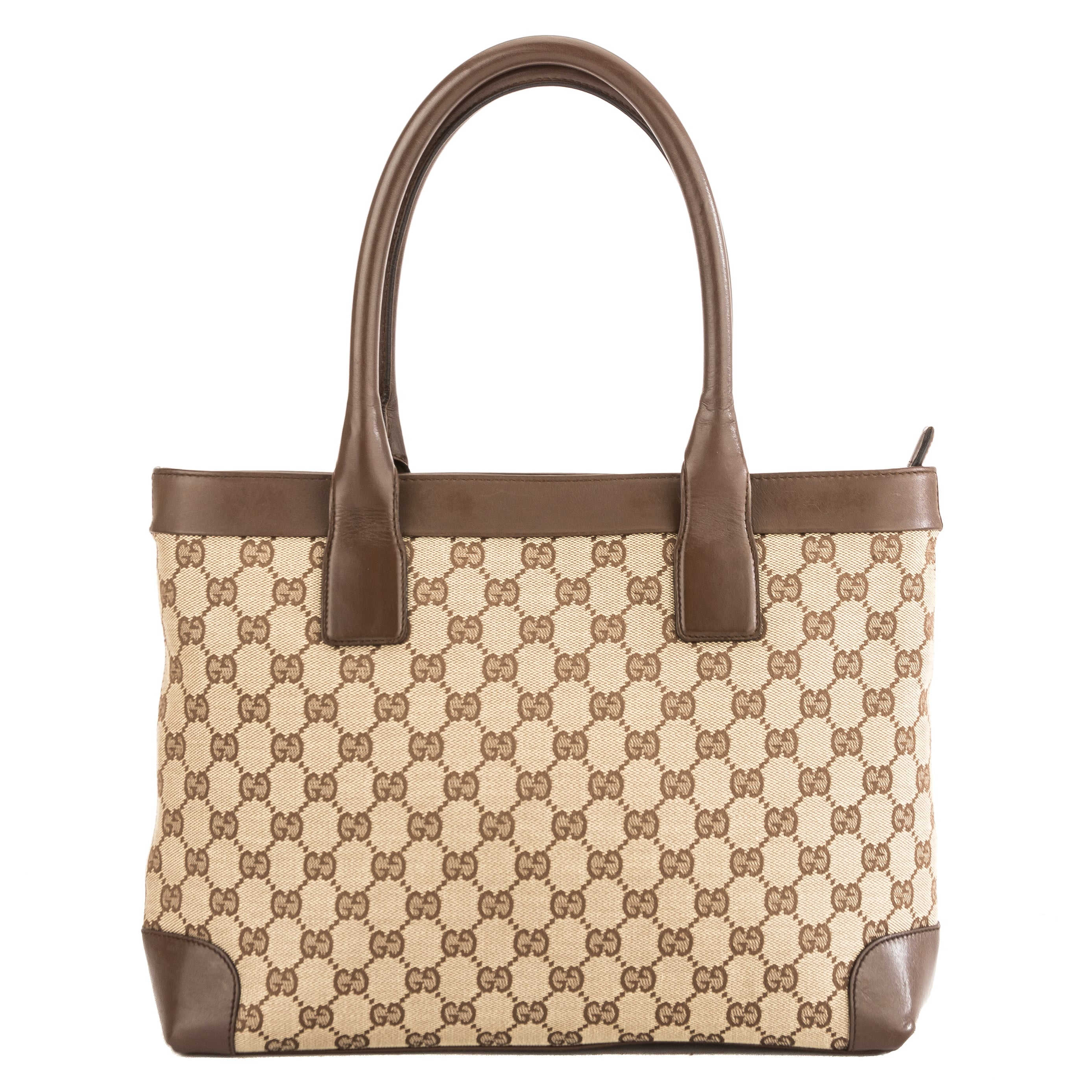4346a098604a Gucci Brown Leather GG Canvas Medium Tote Bag (Pre Owned) - 3864011 ...