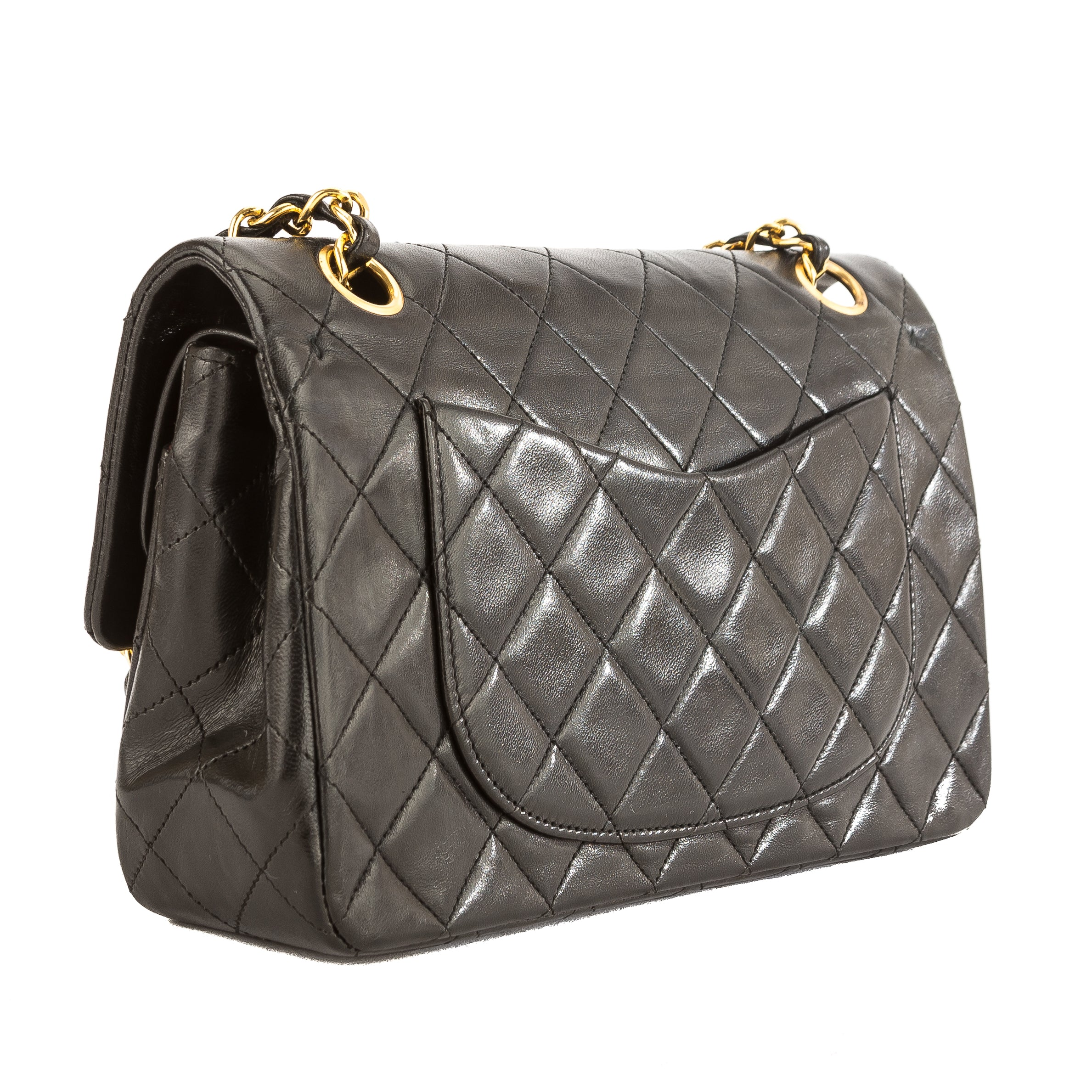 f12cc419118b Chanel Black Quilted Lambskin Leather Small Classic Flap Bag Pre Owned