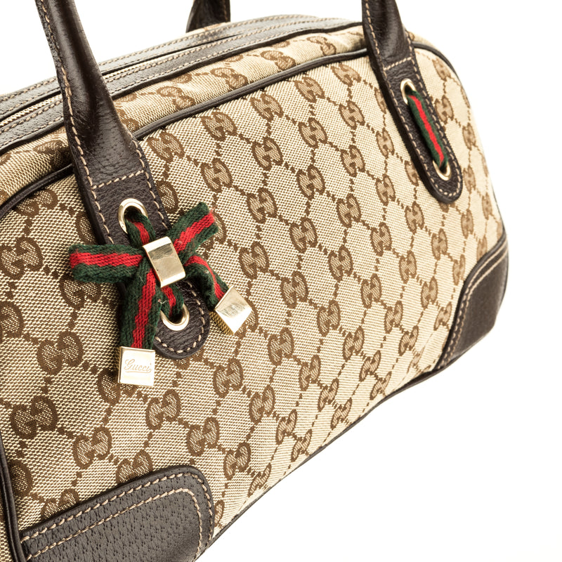 Gucci Brown Leather GG Canvas Small Princy Boston Bag (Pre Owned)