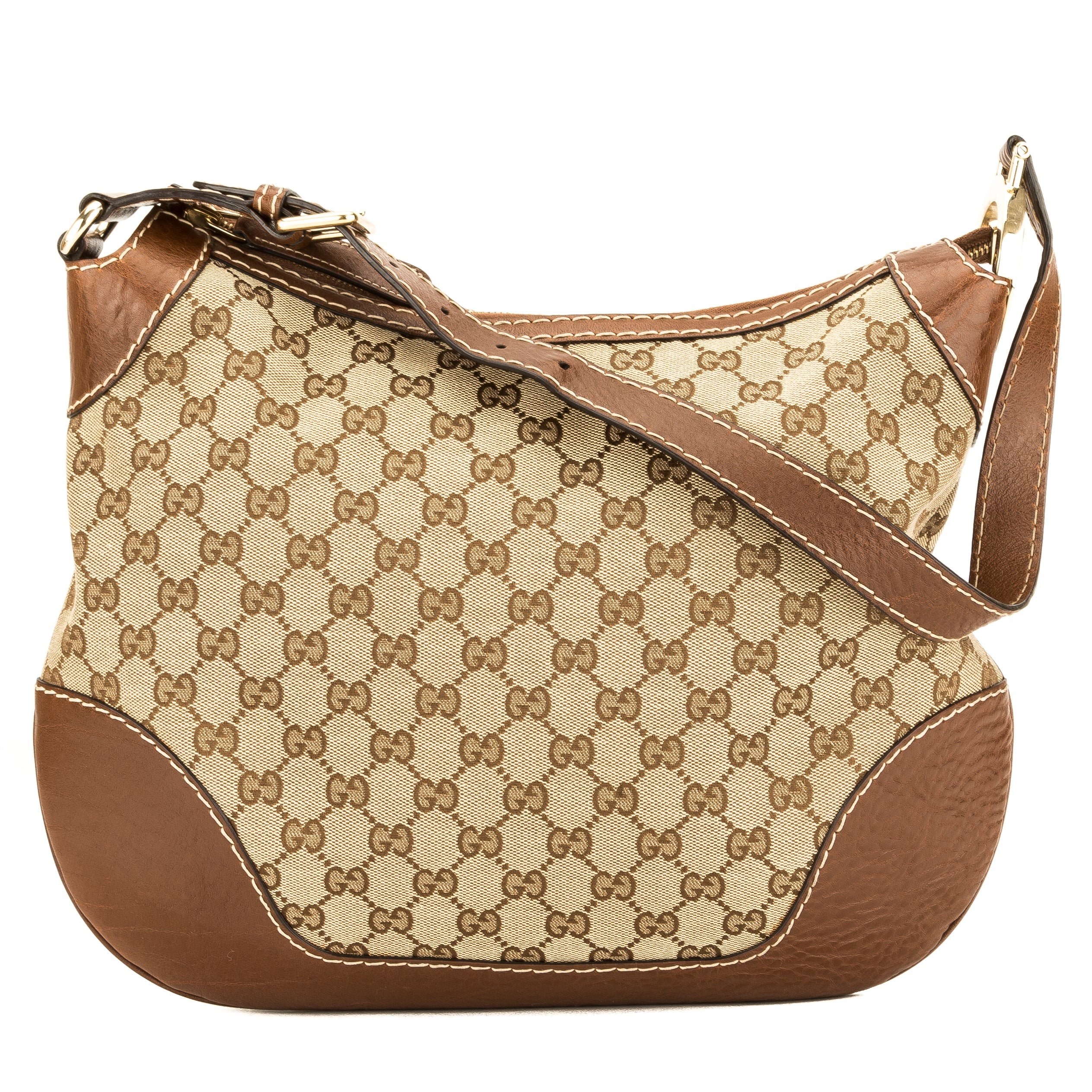 f4d4a883f Gucci Brown Leather GG Canvas Charlotte Medium Hobo Bag (Pre Owned ...