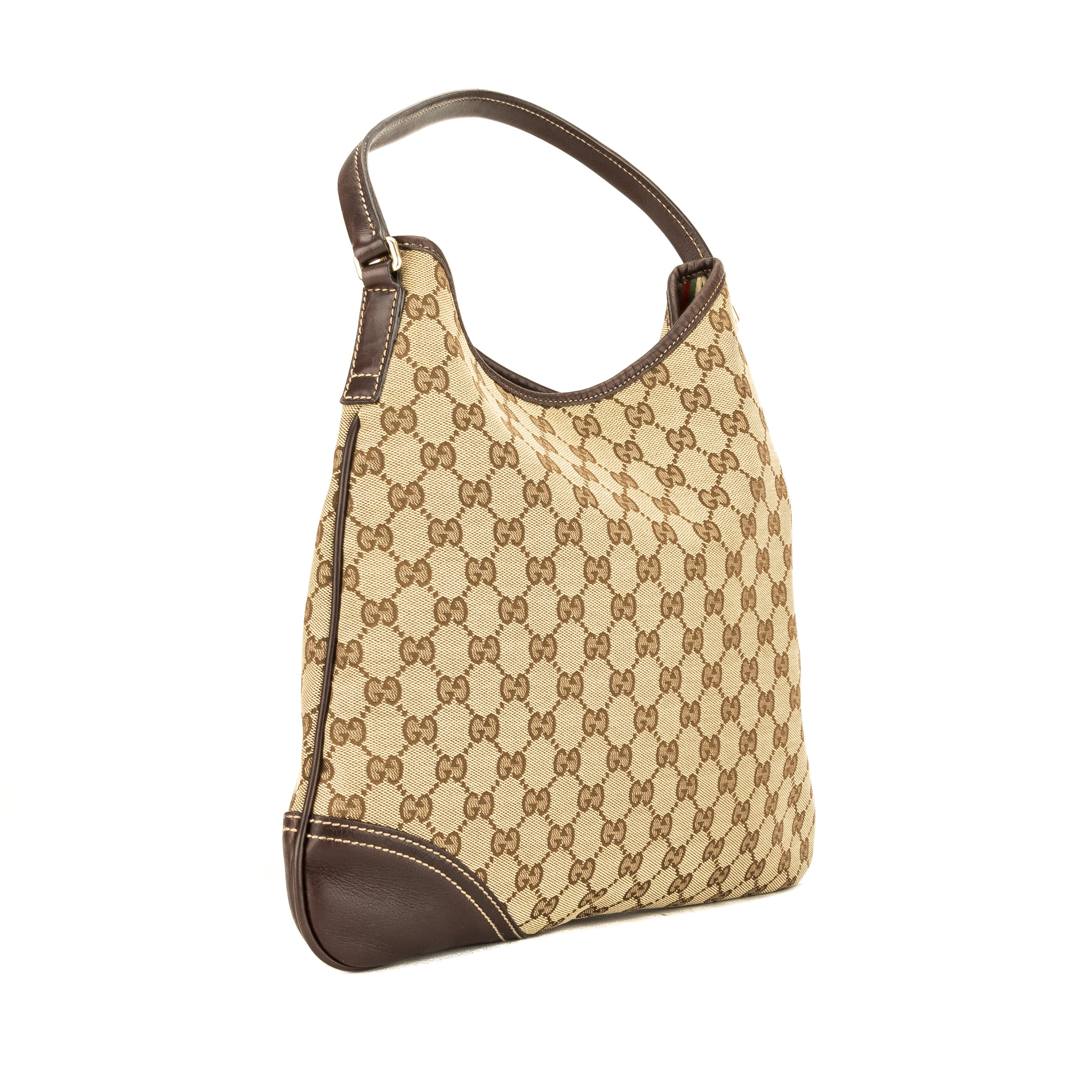 6ccb49bbad9 Gucci Brown Leather GG Canvas Medium Britt Hobo Bag (Pre Owned) - 3890005