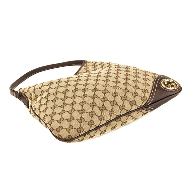 6288c089ad28 ... Gucci Brown Leather GG Canvas Medium Britt Hobo Bag (Pre Owned) ...