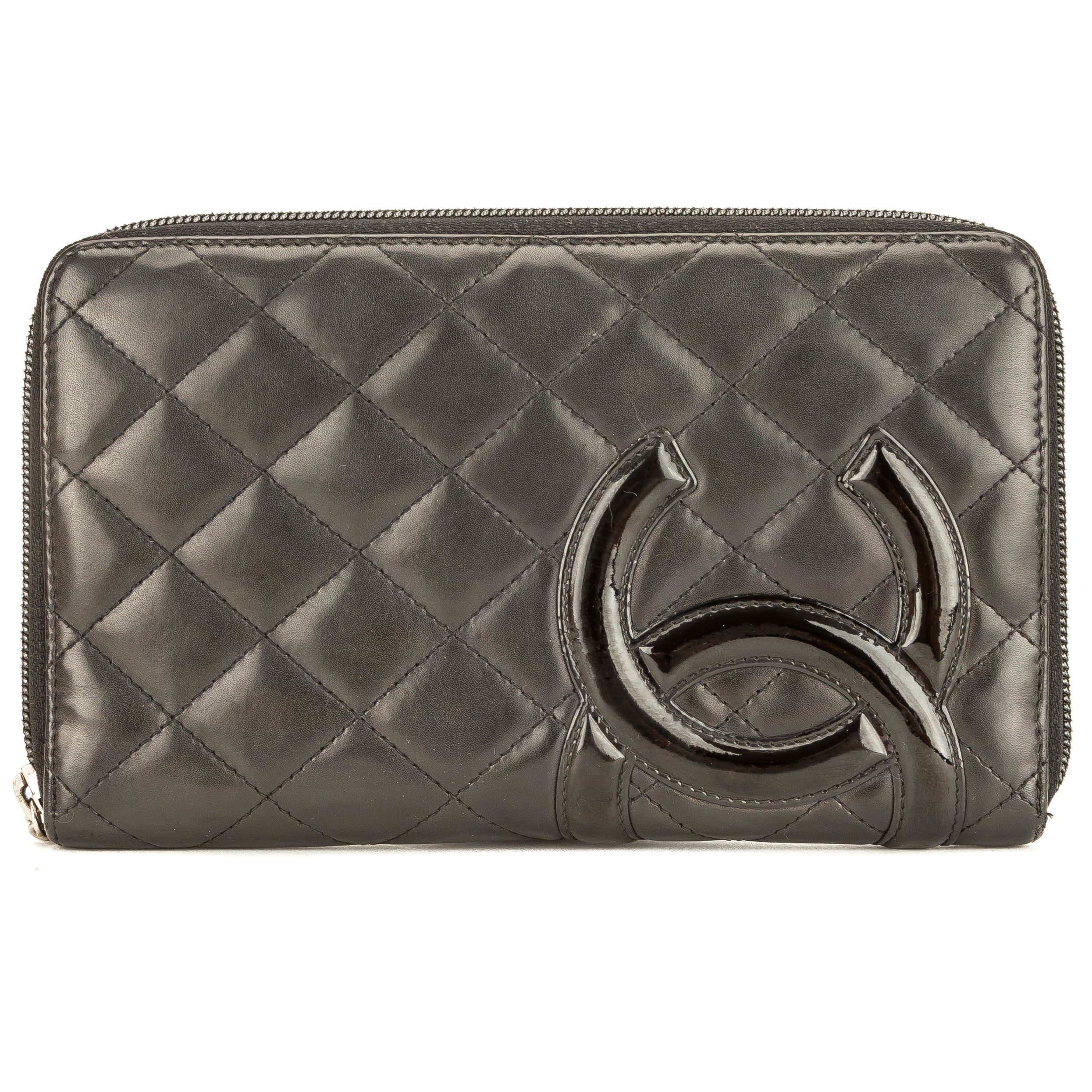 90dc4bb196c1 Chanel Black Quilted Lambskin Leather Cambon Ligne Zip Wallet Pre Owned