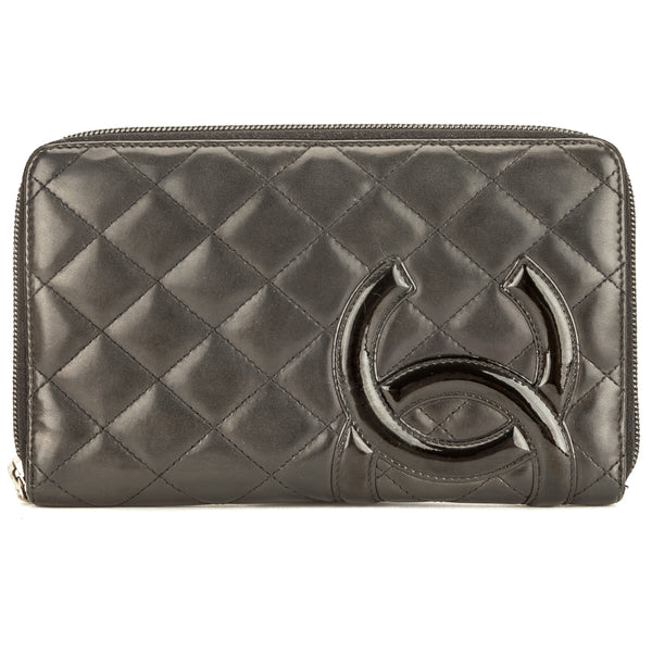 Chanel Black Quilted Lambskin Leather Cambon Ligne Zip Wallet Pre Owned cd2af1e9f48