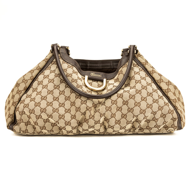 Gucci Brown Leather GG Large Abbey D-Ring Hobo (3891006)