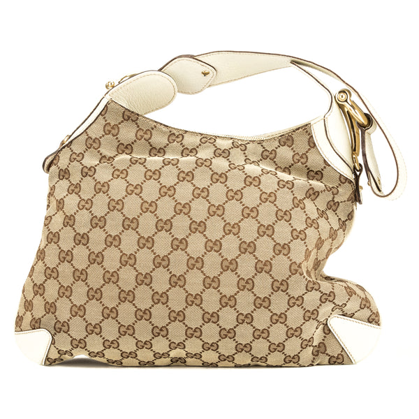 Gucci Creme Leather GG Canvas Creole Hobo Bag (Pre Owned)