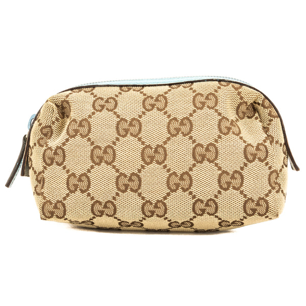 Gucci Brown Leather GG Canvas Small Cosmetic Case (New with Tags)
