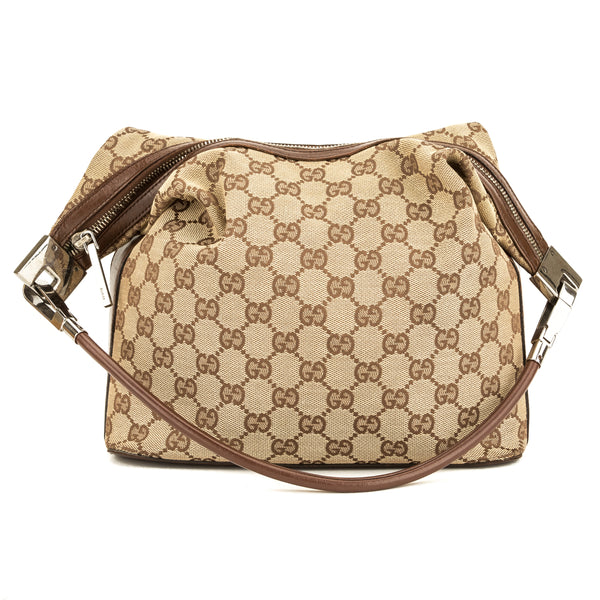 Gucci Brown Leather GG Canvas Small Hobo Bag (Pre Owned)
