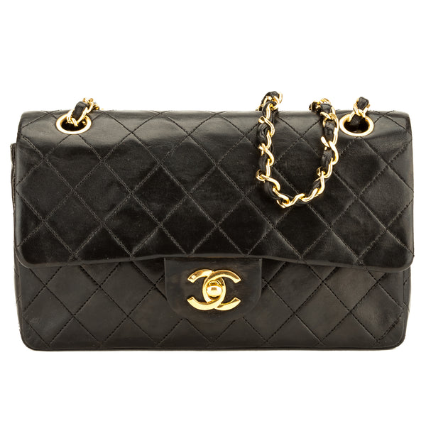 Chanel Black Quilted Lambskin Leather Small Classic Flap (3901006 ... 6bf90a1406905