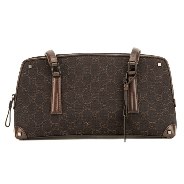 bab4f984d8f6 Gucci Brown Leather GG Canvas Small Shoulder Bag (3903004) - 3903004 ...