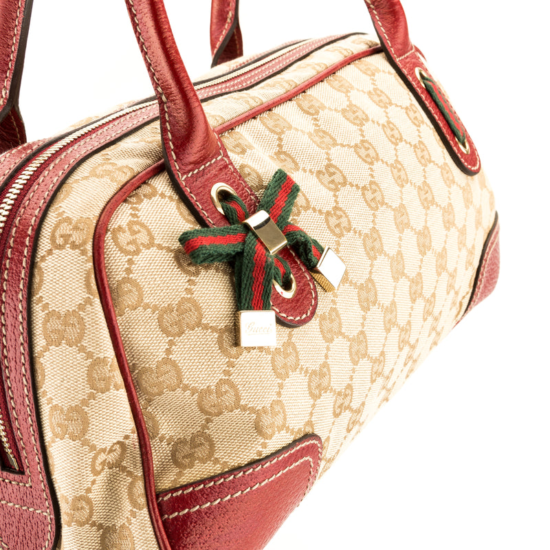 Gucci Red Leather GG Canvas Small Princy Boston Bag (Pre Owned)