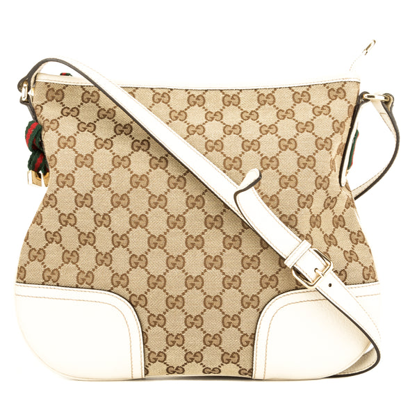 11dc8887b0f Gucci Ivory Leather GG Monogram Canvas Shoulder Bag (Pre Owned ...