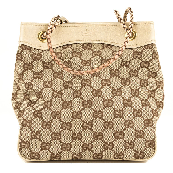 Gucci Beige Leather GG Monogram Mini Bucket (3935005)