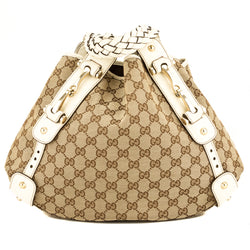 Gucci Creme Leather GG Monogram Pelham Hobo (3945014)
