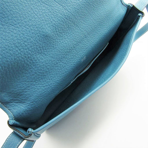 Hermes Blue Jean Toile Togo Victoria II  Leather Messenger Bag (SHA27537)