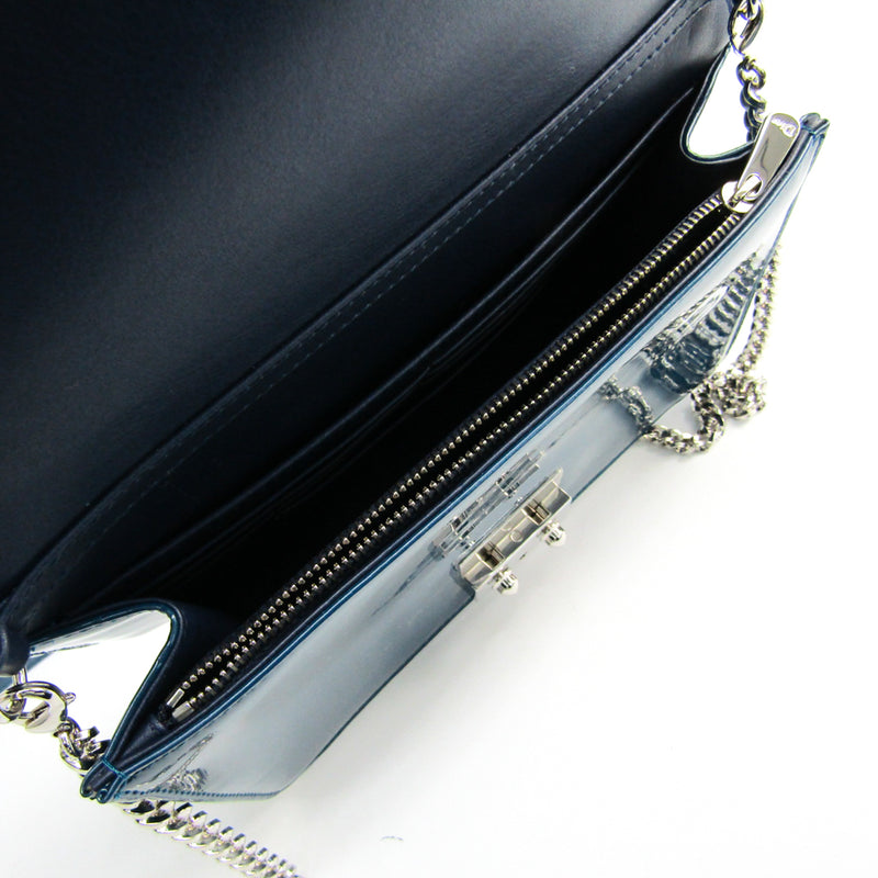 Christian Dior Blue Patent Miss Wallet On Chain (SHA23096)