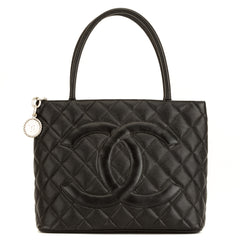 730e61944135 Chanel Black Quilted Caviar Medallion Tote