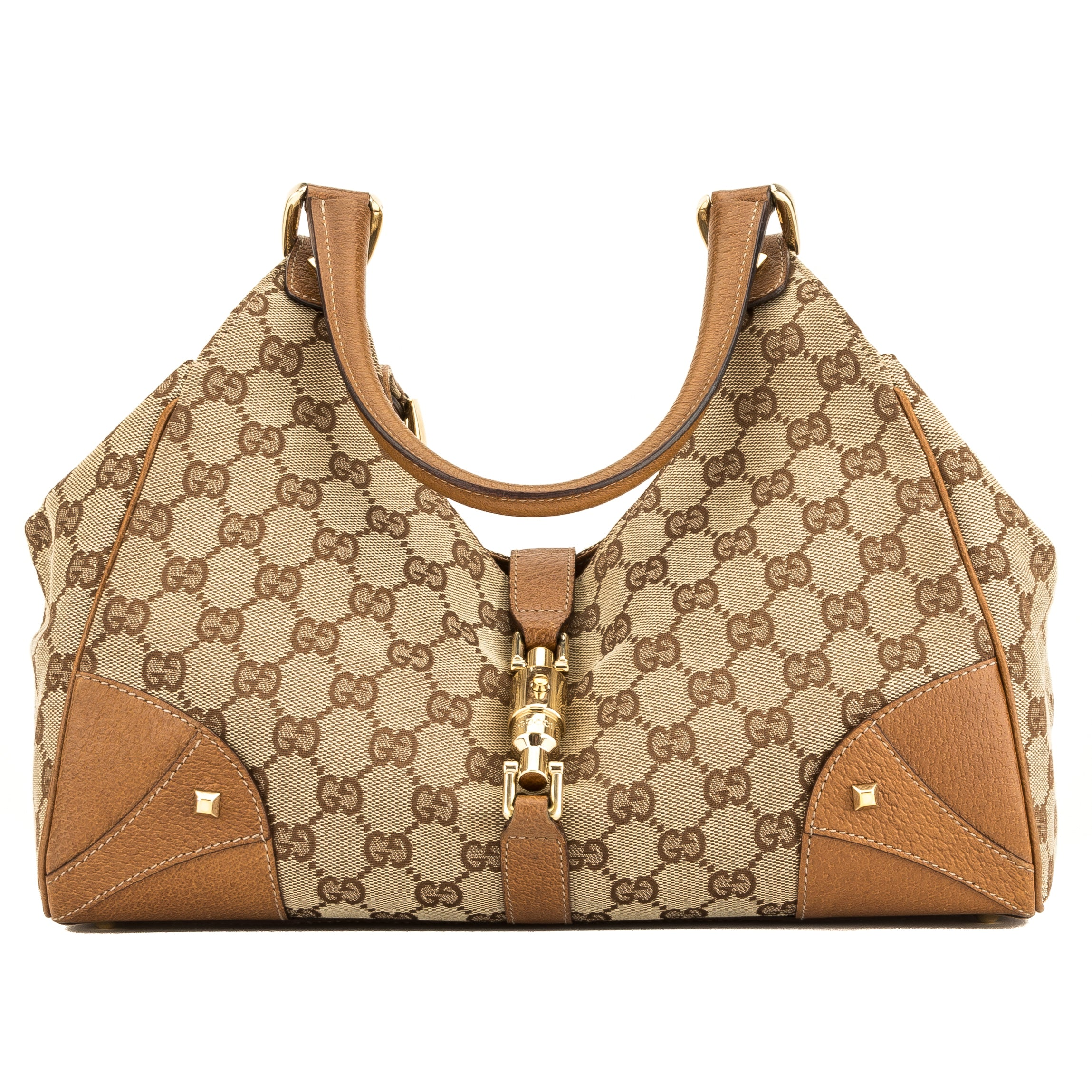 97cbe6820948 Gucci Tan Leather GG Supreme Canvas Jackie Bag (4043002) - 4043002 ...