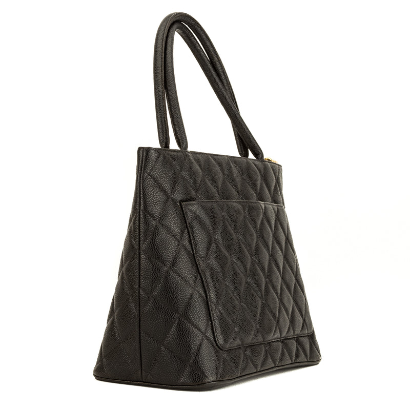 Chanel Black Quilted Caviar Medallion Tote (4046015)