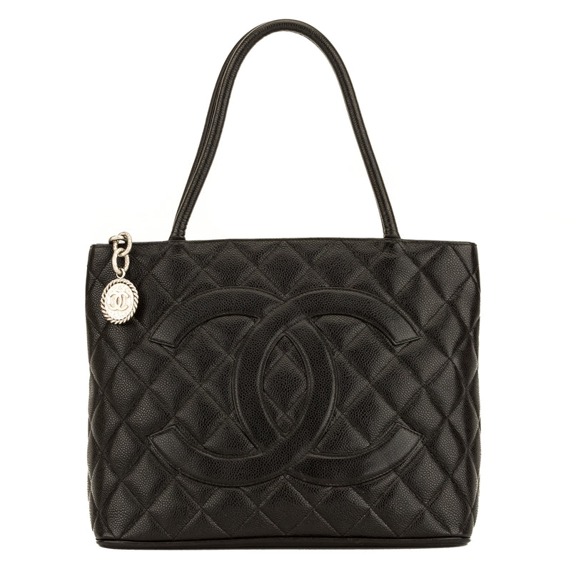 Chanel Black Quilted Caviar Medallion Tote (4068001)