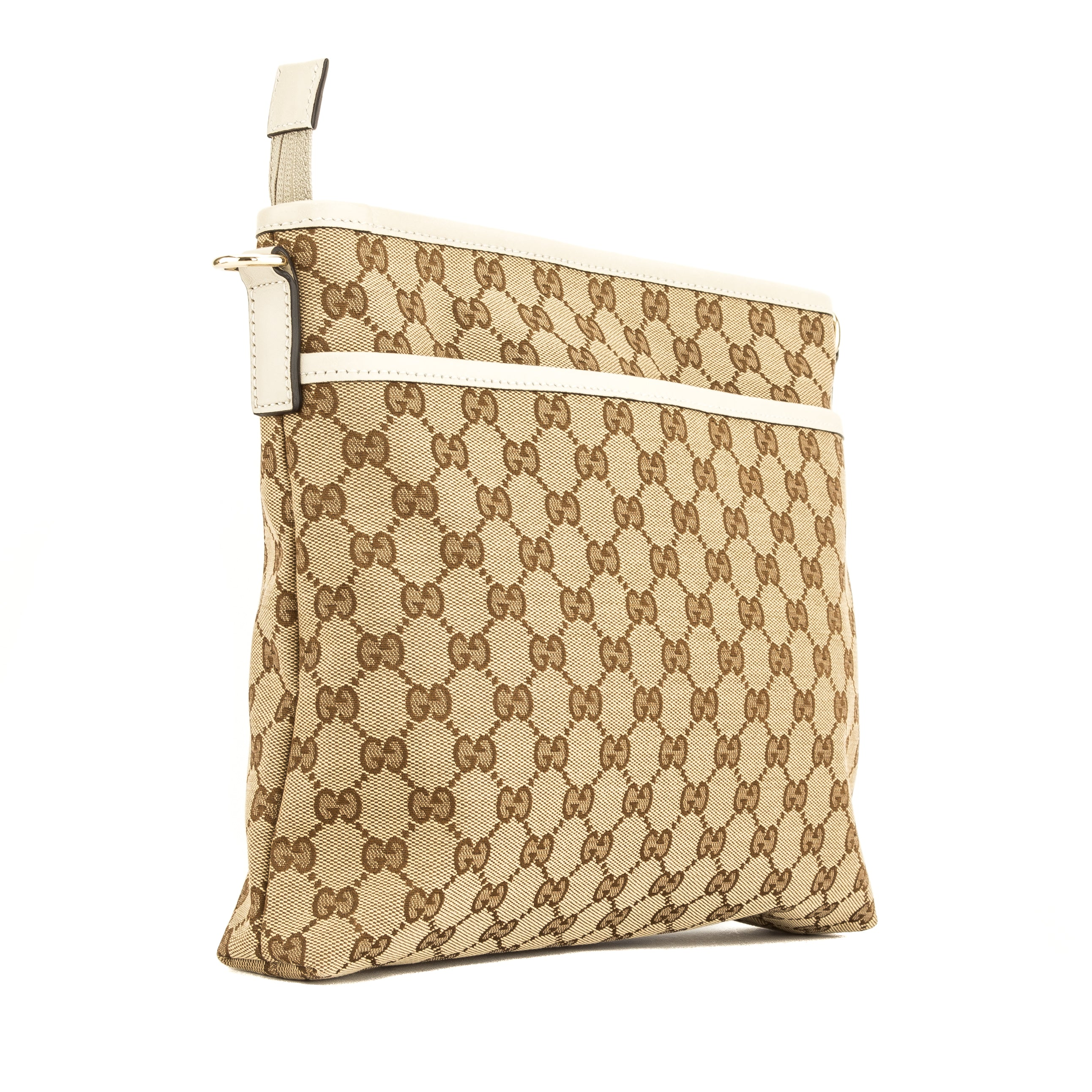ceafce6f8f3 Gucci White Leather GG Monogram Canvas Shoulder Bag (4075040 ...