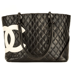 82eb003b18 Chanel Black and White Quilted Leather Cambon Tote