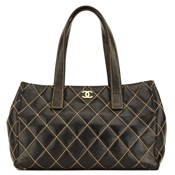 Chanel Black Calfskin Leather Wild Stitch CoCo Mark Tote (4080001)