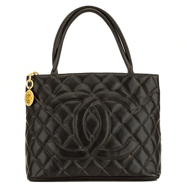Chanel Black Quilted Caviar Medallion Tote (4081014)