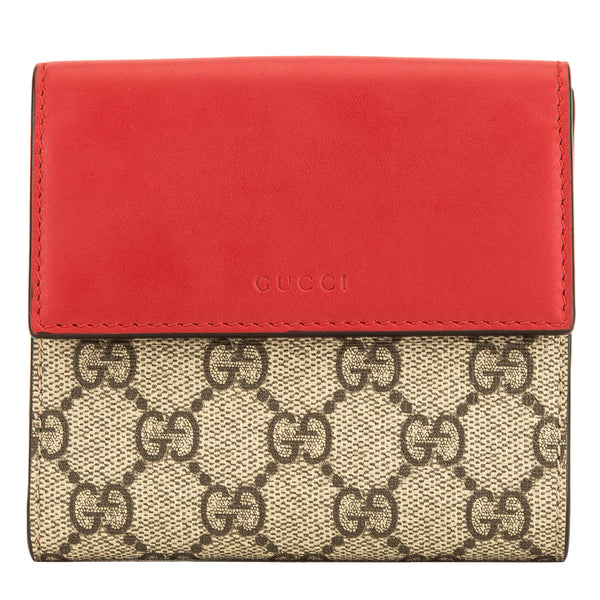 c54a6e67f82d Gucci Red and Fuchsia Leather GG Supreme Canvas French Flap Wallet 4083002