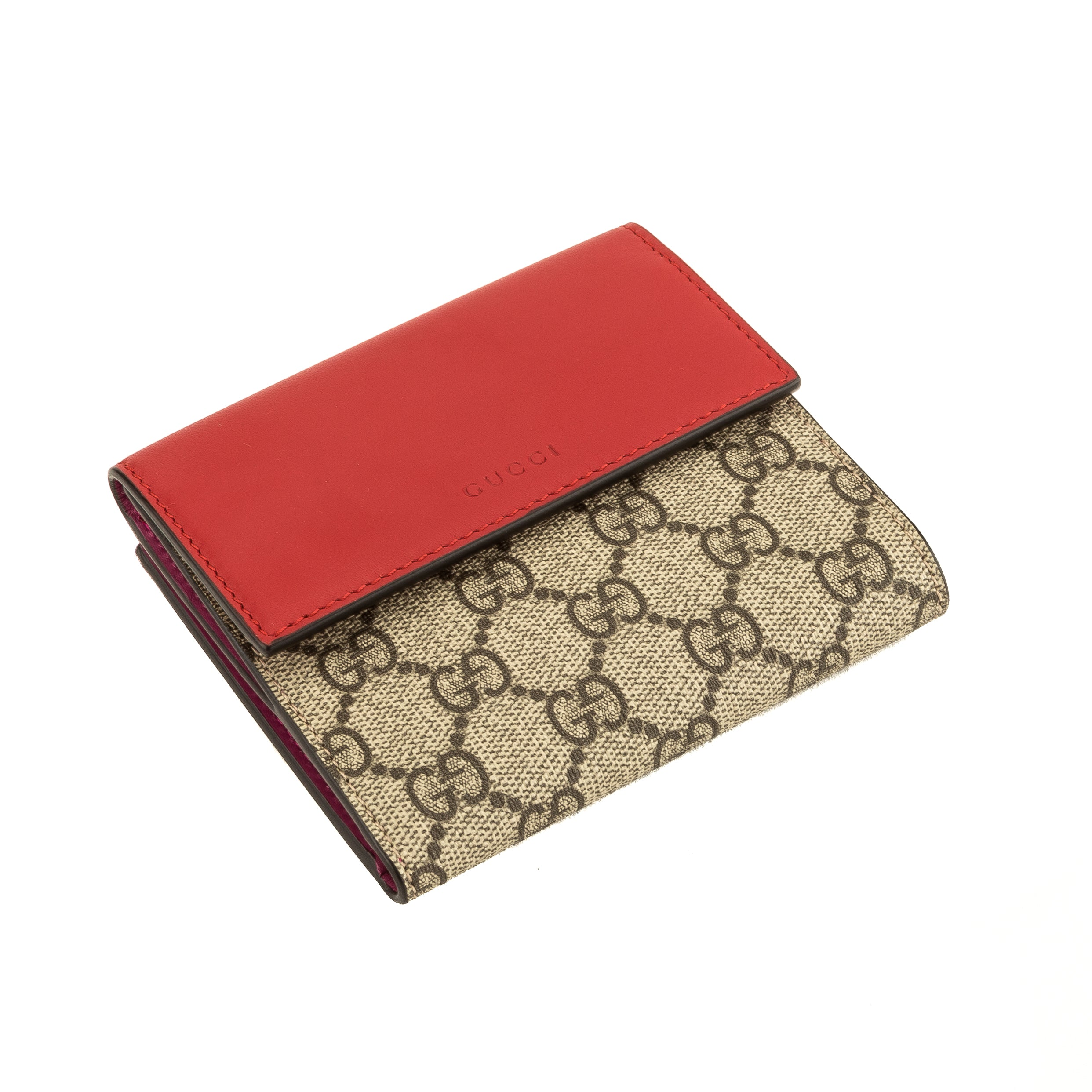 7ad7c1fe4181 Gucci Red and Fuchsia Leather GG Supreme Canvas French Flap Wallet  (4083002) - 4083002 | LuxeDH