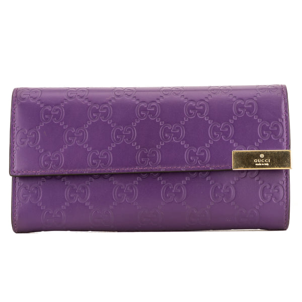 Gucci Purple Leather GG Guccissima Wallet (4085024)