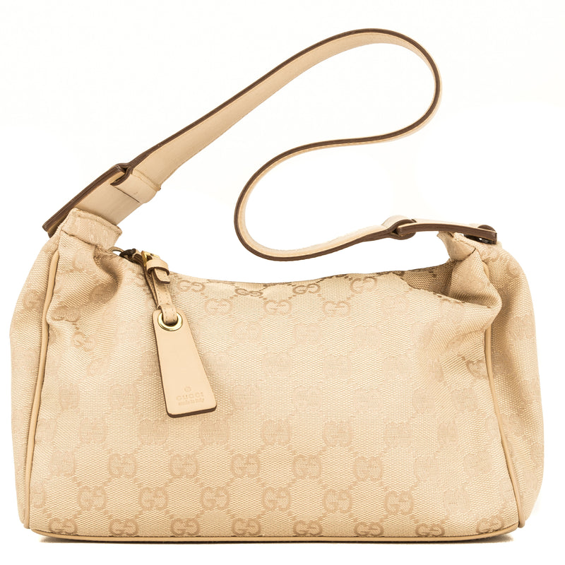 Gucci Beige Leather GG Monogram Canvas Mini Shoulder Bag (4092014)