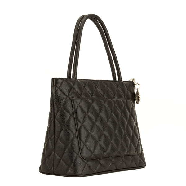 Chanel Black Quilted Caviar Medallion Tote (4100030)