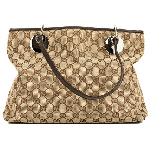 484cb94aab4f3a Gucci Brown Leather GG Monogram Medium Eclipse Tote (4102003 ...